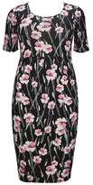 Evans Pink Floral Pocket Tulip Dress