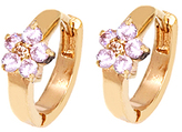 Sweet & Soft Pink & Gold Flower Huggie Earrings With Swarovski® Crystals