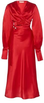 MATÉRIEL Silk Wrap Dress with Cut Out