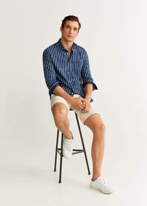 MANGO MAN - Slim fit striped real indigo shirt indigo blue - XXS - Men