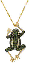 Effy DiaVerde by White Diamond (1/8 ct. t.w.) and Green Diamond (3/4 ct. t.w.) Frog Pendant Necklace in 14k Gold