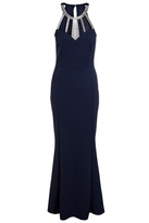 Quiz Navy Diamante Neck Trim Maxi Dress