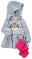 Juicy Couture Newborn Girls) Two-Piece Hooded Metallic Graphic Dress & Tights Set