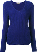 N.Peal diagonal cable V-neck jumper