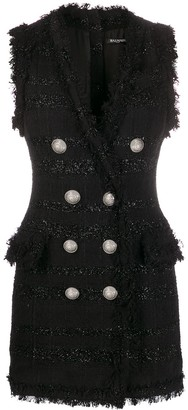 Balmain Sleeveless Tweed Fitted Dress