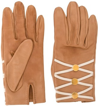 Hermes Pre-Owned Lace-Up Slit Leather Gloves