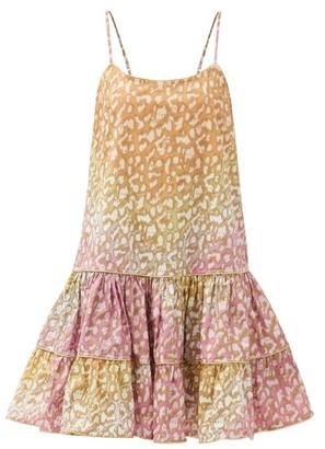 Juliet Dunn Tie-dyed Snow Leopard-print Cotton Dress - Pink Print