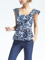 Banana Republic Print Flounce-Shoulder Top