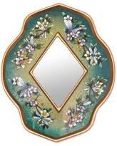 Unique Glass Butterfly Mirror, 'Green Summer Garden'