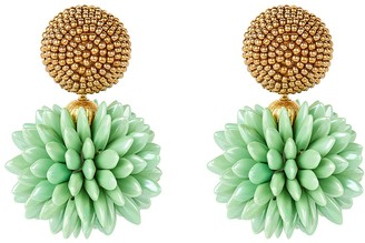 Oscar de la Renta Beaded Cluster Drop Earrings