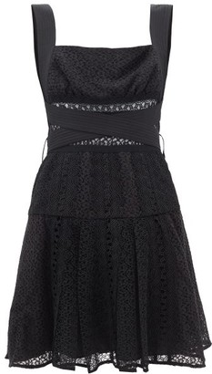Self-Portrait Panelled Cotton-blend Guipure Lace Mini Dress - Womens - Black