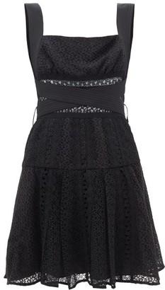 Self-Portrait Self Portrait Panelled Cotton-blend Guipure Lace Mini Dress - Womens - Black