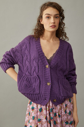 Callahan Consuela Cable-Knit Cardigan By in Purple Size S