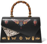 Gucci Ottilia Large Embellished Elaphe-paneled Printed Leather Tote - Black