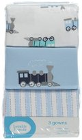 "Luvable Friends Baby Boys' ""Trains"" 3-Pack Gowns"
