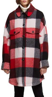 Woolrich Buffalo Check Wool Blend Coat