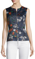 Cédric Charlier Sleeveless Floral-Print Zip-Front Top, Fantasia Blue