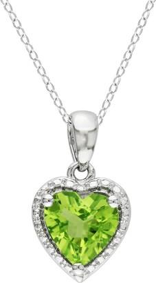 Delmar Sterling Silver Peridot Heart Pendant Necklace