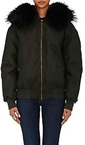 Mr & Mrs Italy Women's Fur-Lined Tech-Twill Bomber Jacket-London green, Everglade army blue, Black