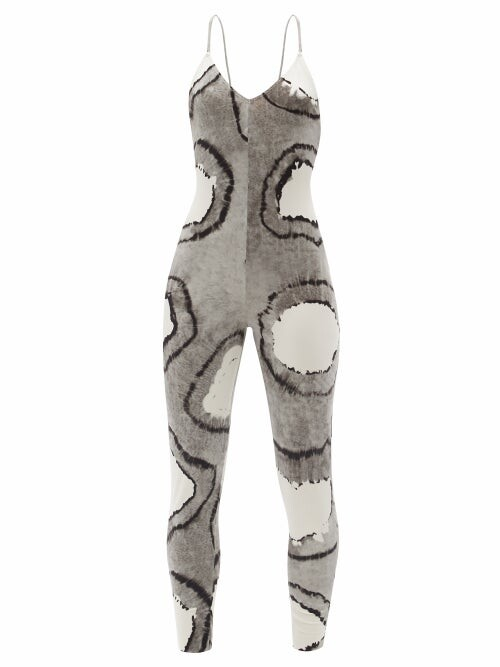 Thumbnail for your product : Norma Kamali Fara Crossover-strap Tie-dye Jersey Jumpsuit - Black Multi