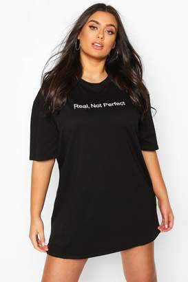 boohoo Plus 'Real Not Perfect' T-Shirt Dress