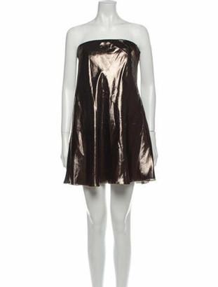Alberta Ferretti Strapless Mini Dress Brown
