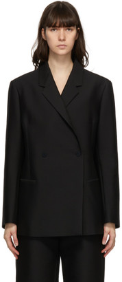 Totême Black Oversized Heavy Cotton Blazer