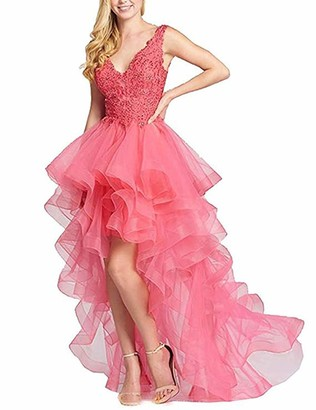 Stillluxury V Neck Layered Hi Low Prom Dresses Long Beaded Evening Formal Party Gown Coral Size 8