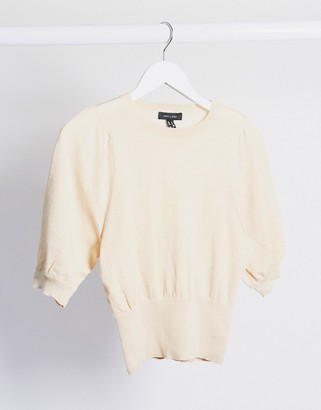 New Look puff sleeve jumper in oatmeal