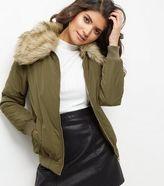 New Look Khaki Faux Fur Collar Bomber Jacket