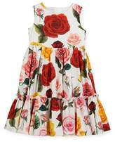 Dolce & Gabbana Sleeveless Tiered Multi-Rose Dress, Size 4-6