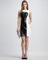 Nina Colorblock Leather Dress, Ecru
