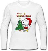 DALJ Tee Female Online O Neck Christmas Snoopy Long Sleeve T-Shirt US Size L