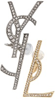 Saint Laurent Set of two embellished Monogram clip-on earrings