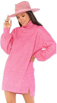 Show Me Your Mumu Chester Sweater Dress (Hot Pink Knit) Women's Clothing