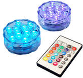 Asstd National Brand Submersible Battery Operated LED Lights with Remote Control (Set of 2)