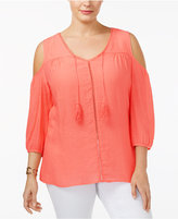 NY Collection Plus Size Cold-Shoulder Peasant Top