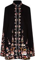 Vilshenko Black Wool Floral Embroidered Erin Cape
