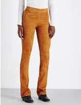 Joseph Lex slim-fit flared suede trousers