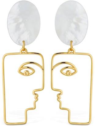 MOP Face Earrings W/ Mother Of Pearls