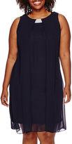 MSK Sleeveless Split-Front Woven Shift Dress - Plus