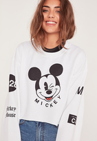 Missguided Wink Mickey Mouse Cropped Sweatshirt White