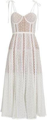 Self-Portrait Lace Bustier Midi Dress