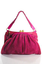 Roberto Cavalli Bright Pink Suede Patent Leather Pocket Front Tote Handbag