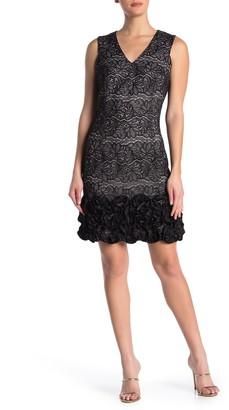 Donna Ricco Metallic Lace V-Neck Ruffled Sheath Dress