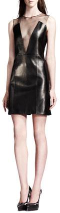 Saint Laurent Sheer-Inset Lambskin Leather Dress, Black