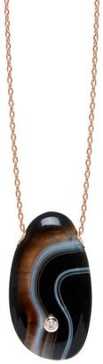 Lola Rose London Curio Diamond Large Pebble Necklace Black Banded Agate