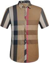 SSLR Men's Casual Short Sleeve Stripe Patch Shirt