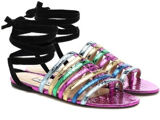 ATTICO Metallic leather sandals