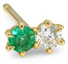 Ila Duo 14K Yellow Gold, Emerald & Diamond Single Earring